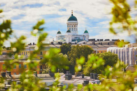 Scenic view to Lutheran Helsinki cathedral in the capital of Finland