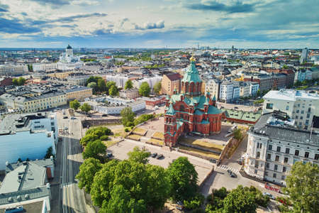 Scenic aerial view of Uspenski Cathedral in Helsinki, Finland