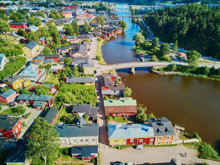 Scenic aerial view of historical town of Porvoo in Finland Stockfoto - 127134435