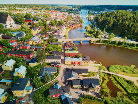 Scenic aerial view of historical town of Porvoo in Finland Archivio Fotografico - 127134299