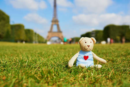 Teddy bear sitting on the grass near the Eiffel tower in Paris France