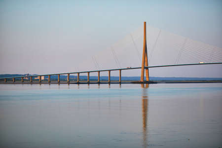 Scenic view of Pont de Normandie (Normandy bridge), a cable-stayed road bridge over the Seine, connecting Honfleur and Le Havre in Normandy, Northern France Stock Photo