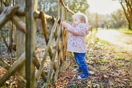 One year old girl standing next to wooden fence in park on a sunny spring day. Toddler learning how to walk Reklamní fotografie