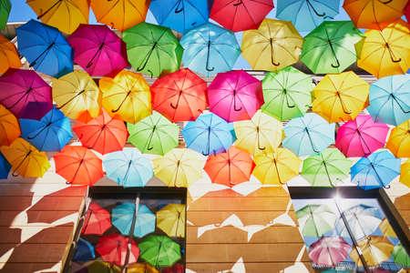 Beautiful street decoration of many colorful umbrellas