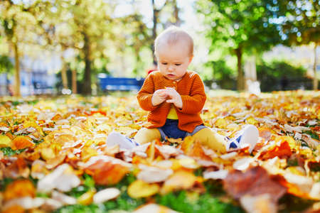 Adorable little girl sitting on the ground in park and playing with colorful autumn leaves on a bright fall day
