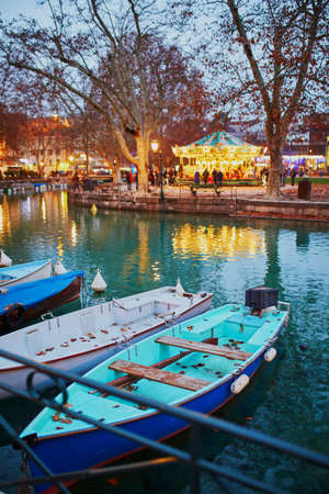 Colorful boats on the board of canal in alpine town of Annecy in Haute-Savoie, France