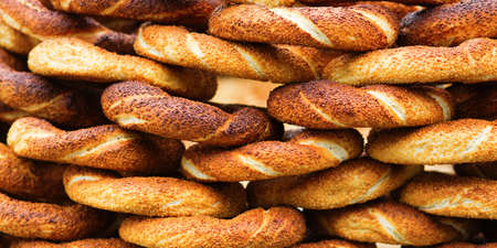 Delicious fresh Turkish bagels (also called simits) 写真素材