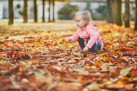 Adorable toddler girl picking fallen leaves in Tuileries garden in Paris, France. Happy child enjoying warm and sunny fall day. Outdoor autumn activities for kids Standard-Bild - 132470280