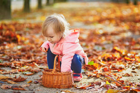 Adorable toddler girl picking chestnuts in basket in Tuileries garden in Paris, France. Happy child enjoying warm and sunny fall day. Outdoor autumn activities for kids Standard-Bild - 132470305