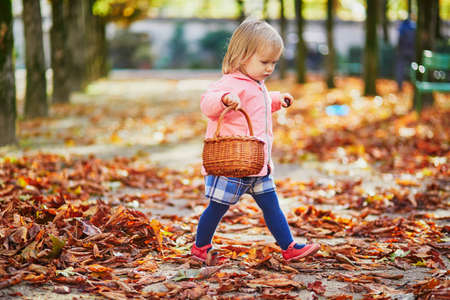 Adorable toddler girl picking chestnuts in basket in Tuileries garden in Paris, France. Happy child enjoying warm and sunny fall day. Outdoor autumn activities for kids Standard-Bild - 132470418