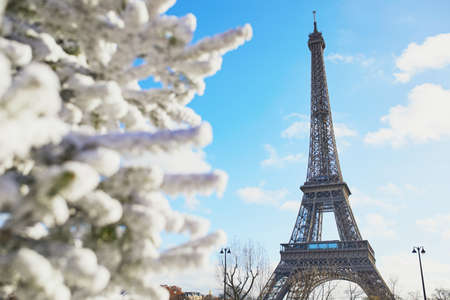 Christmas tree covered with snow near the Eiffel tower in Paris. Celebrating seasonal holidays in France Standard-Bild - 132470422