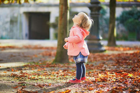 Adorable cheerful toddler girl running in Tuileries garden in Paris, France. Happy child enjoying warm and sunny fall day. Outdoor autumn activities for kids Standard-Bild - 132470602