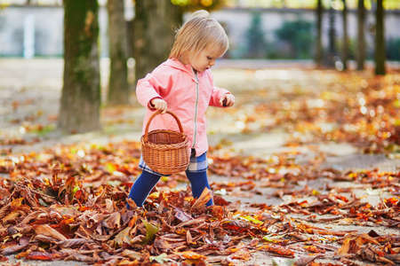Adorable toddler girl picking chestnuts in basket in Tuileries garden in Paris, France. Happy child enjoying warm and sunny fall day. Outdoor autumn activities for kids Standard-Bild - 132470618