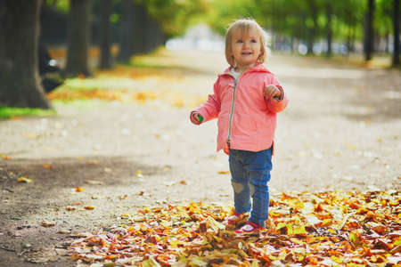Adorable cheerful toddler girl running in park in Paris, France. Happy child enjoying warm and sunny fall day. Outdoor autumn activities for kids Standard-Bild - 132470738