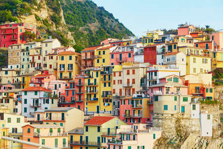 Scenic view to Manarola, one of five famous villages of Cinque Terre in Liguria, Italy Stock Photo