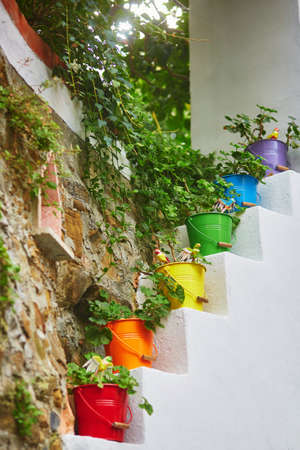 Colorful street decoration in Riomaggiore, one of five famous villages of Cinque Terre in Liguria, Italy