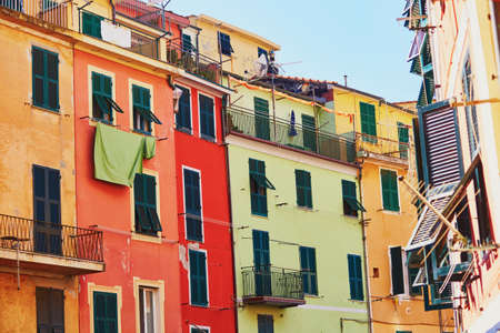 Scenic view of colorful houses in Vernazza, one of five famous villages of Cinque Terre in Liguria, Italy Stock Photo
