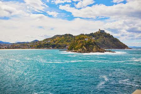 Scenic view to Isla de Santa Clara from San Sebastian (Donostia), Spain