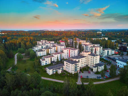 Beautiful aerial sunset view of Espoo, residential suburb of Helsinki, Finland 스톡 콘텐츠 - 138474281