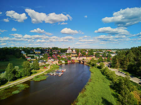 Scenic aerial view of historical town of Porvoo in Finland 스톡 콘텐츠 - 138474076