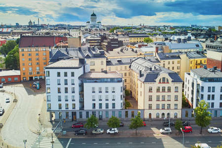 Scenic aerial view of Helsinki Cathedral in the capital of Finland