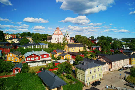 Scenic aerial view of historical town of Porvoo in Finland