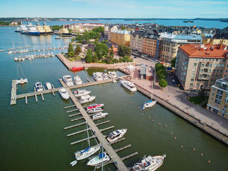 Scenic aerial view of city streets and embankment in Helsinki, Finland