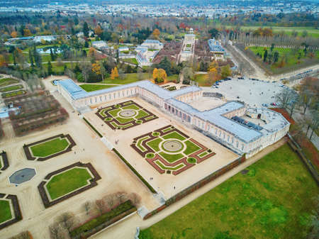 Aerial scenic view of Grand Trianon palace in the Gardens of Versailles near Paris, France