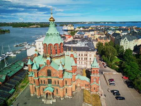 Scenic aerial view of Uspenski Cathedral in Helsinki, Finland