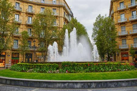 Beautiful fountain on Bilbao plaza in San-Sebastian (Donostia), Spain