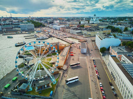 Scenic aerial view of Ferris Wheel and Helsinki Cathedral in the capital of Finland 스톡 콘텐츠