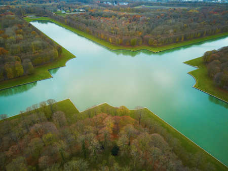 Aerial scenic view of Grand Canal in the Gardens of Versailles near Paris, France