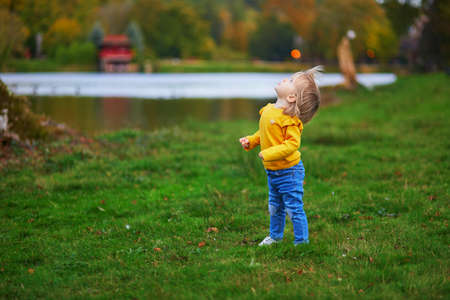 Adorable cheerful toddler girl running in autumn park in Paris, France. Happy child enjoying warm and sunny fall day. Outdoor autumn activities for kids