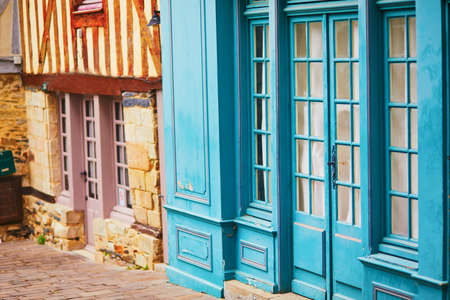 Beautiful half-timbered houses in medieval town of Vitre, one of the most popular tourist attractions in Brittany, France