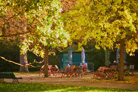 Empty cafe in autumn park in Paris, France