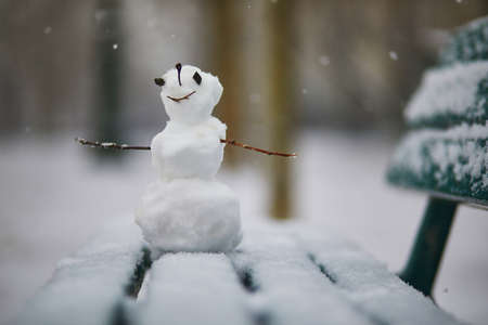 Little snowman with happy face on a bench covered with snow. Winter activites with kids. Cold snowy weather Reklamní fotografie