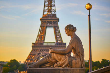 Statue of woman at the Trocadero looking at the Eiffel Tower. Paris, France Stock Photo