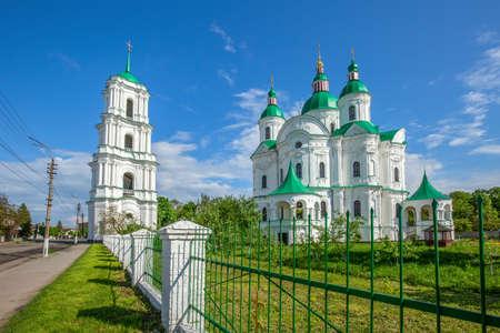 Beautiful white green-domed orthodox church in Ukrainian town of Kozelets
