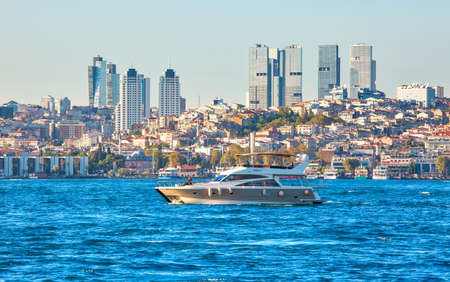 ISTANBUL, TURKEY - October 9th, 2019: Genuine architecture along the banks of Bosphorus, popular travel destination and significant passway between Europe and Asia. Bosphorus cruise. Fall season in Istanbul.
