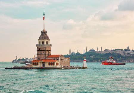 Maiden tower, popular tourist attraction in Istanbul, Turkey