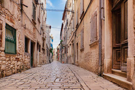 Streets of Rovinj old town, popular travel destination in Croatia