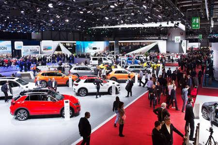 GENEVA, SWITZERLAND - March 6th, 2018: View to exhibition halls of Palexpo during 88th Geneva International Motor Show Editorial