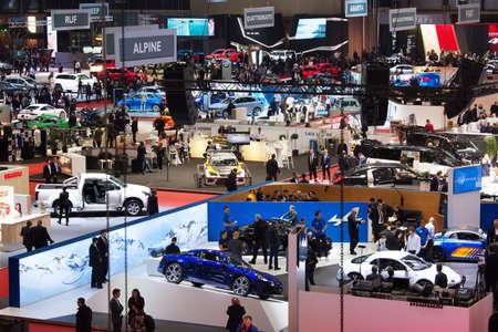 GENEVA, SWITZERLAND - March 7th, 2018: View to exhibition halls of Palexpo during 88th Geneva International Motor Show