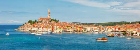 Panoramic view to Rovinj old town, popular tourist destination in Croatia