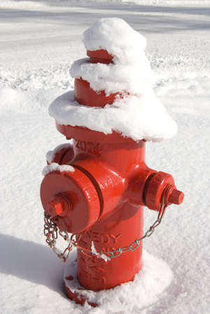 Vertical image of a bright red fire hydrant covered with and standing in a large amount of snow.