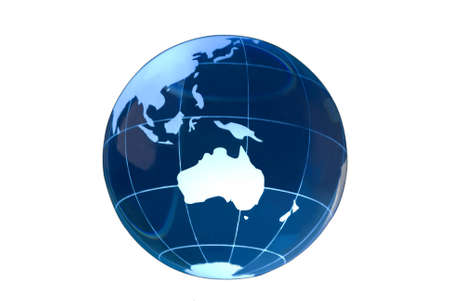Transparent glass globe on white background with Australia featured. Stock Photo