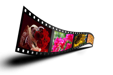 A colorful filmstrip with a shadow against a 255 white background with plenty of copyspace for text.  Photographer owns the copyright to all included images.