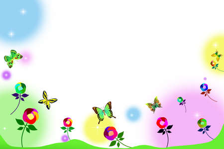 congratulate: Colorful greeting card with flowers and butterflies