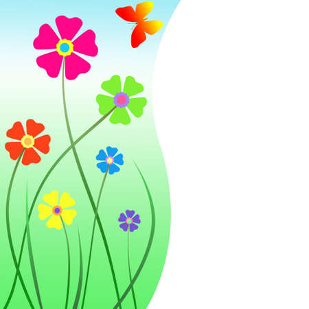 spring: Colorful floral greeting card with flowers