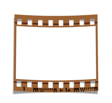 photo real: Old blank film frame on white background